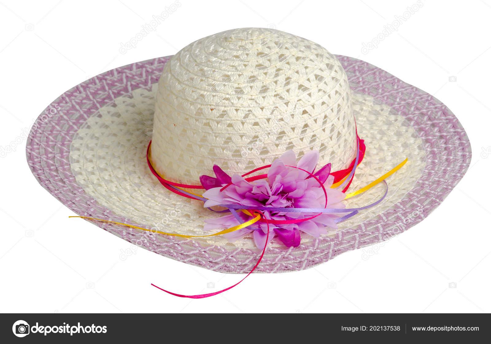 Sombrero Mujer Aislado Sobre Fondo Blanco Sombrero Playa Las Mujeres ...