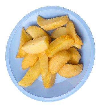 fried potato wedges on a plate. fried potato veggies isolated on