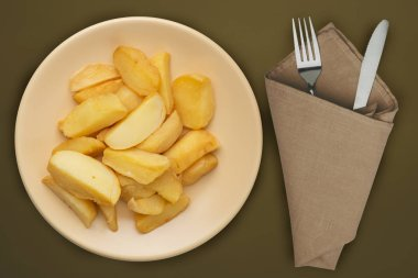 french fries on a beige plate on a brown background.fast food to