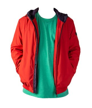 red zipped jacket and retro heather green t-shirt isolated on a white background. Casual style