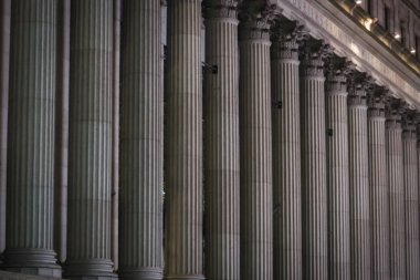 Columns of the facade of the old main entrance of the famous Pennsylvania Station