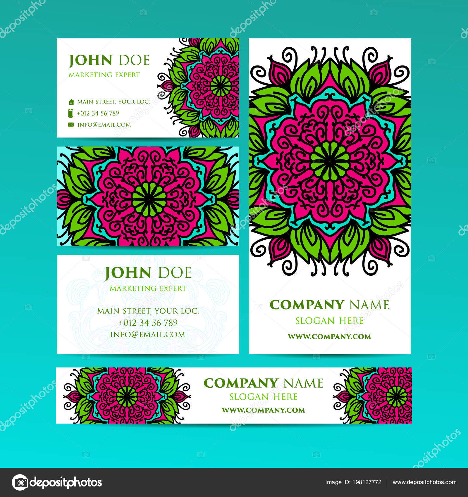 Big Templates Set Business Cards, Invitations And Banners Asian, Arabic