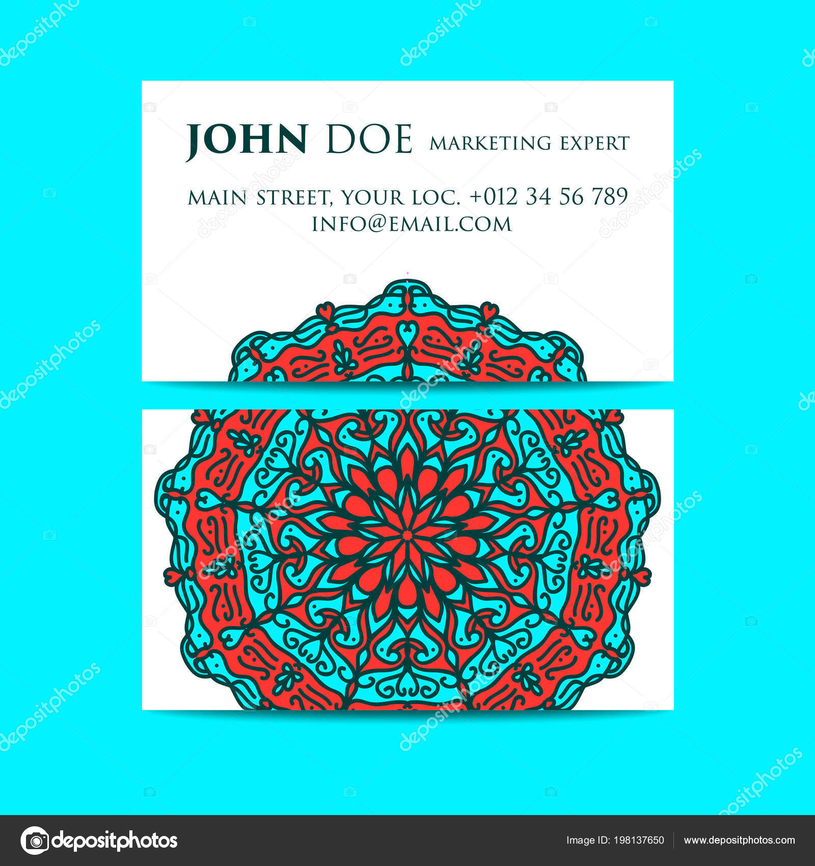 Business Cards Ornamental Floral Oriental Pattern Illustration Islam, Arabic Indian