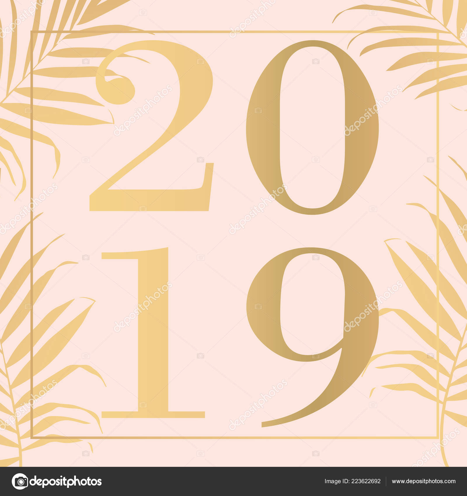 happy new year pink 2019 text design vector illustration stock vector