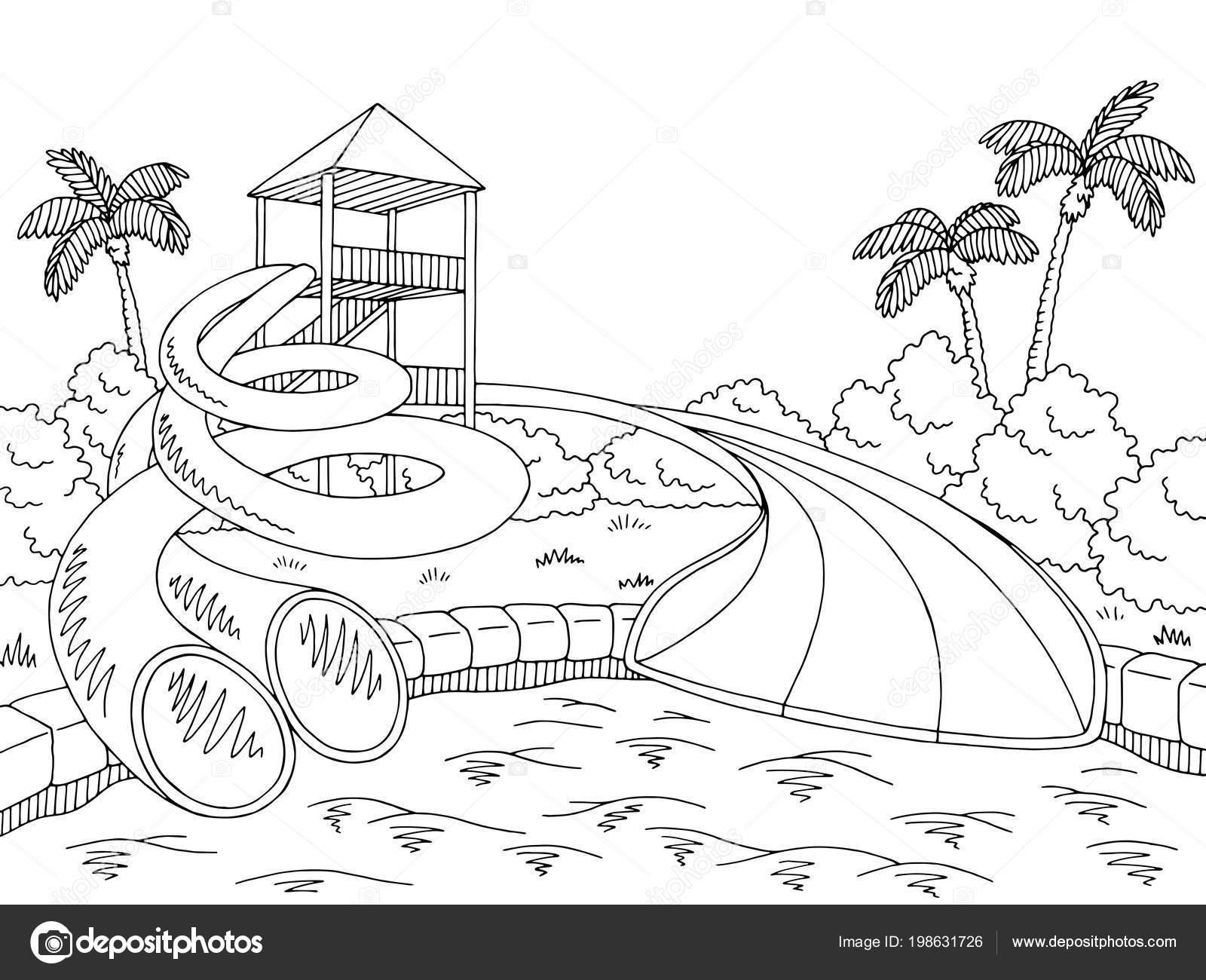 Dibujo Parque Acuático Vector Ilustración Gráfica Dibujo