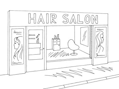 Hair salon exterior graphic black white sketch illustration vector