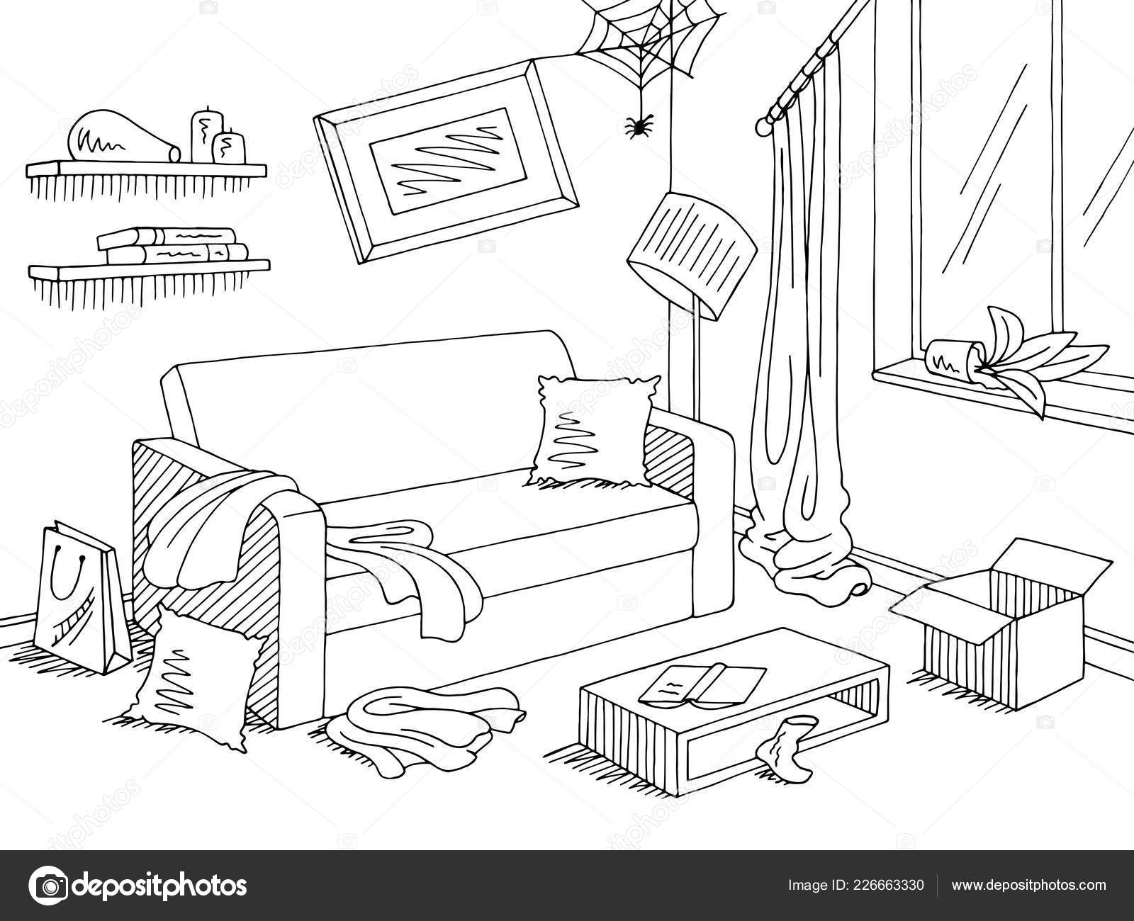 Mess Living Room Graphic Black White Home Interior Sketch