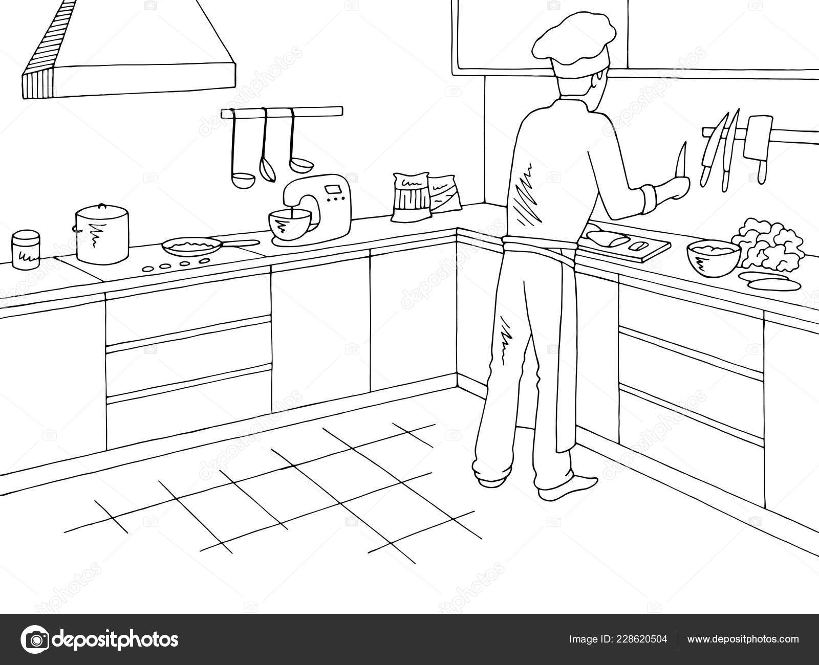 Cook Cutting Ingredients Restaurant Kitchen Room Graphic Black White Interior Stock Vector C Aluna11 228620504