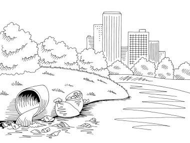 Garbage in nature park graphic black white river ecology problem landscape sketch illustration vector