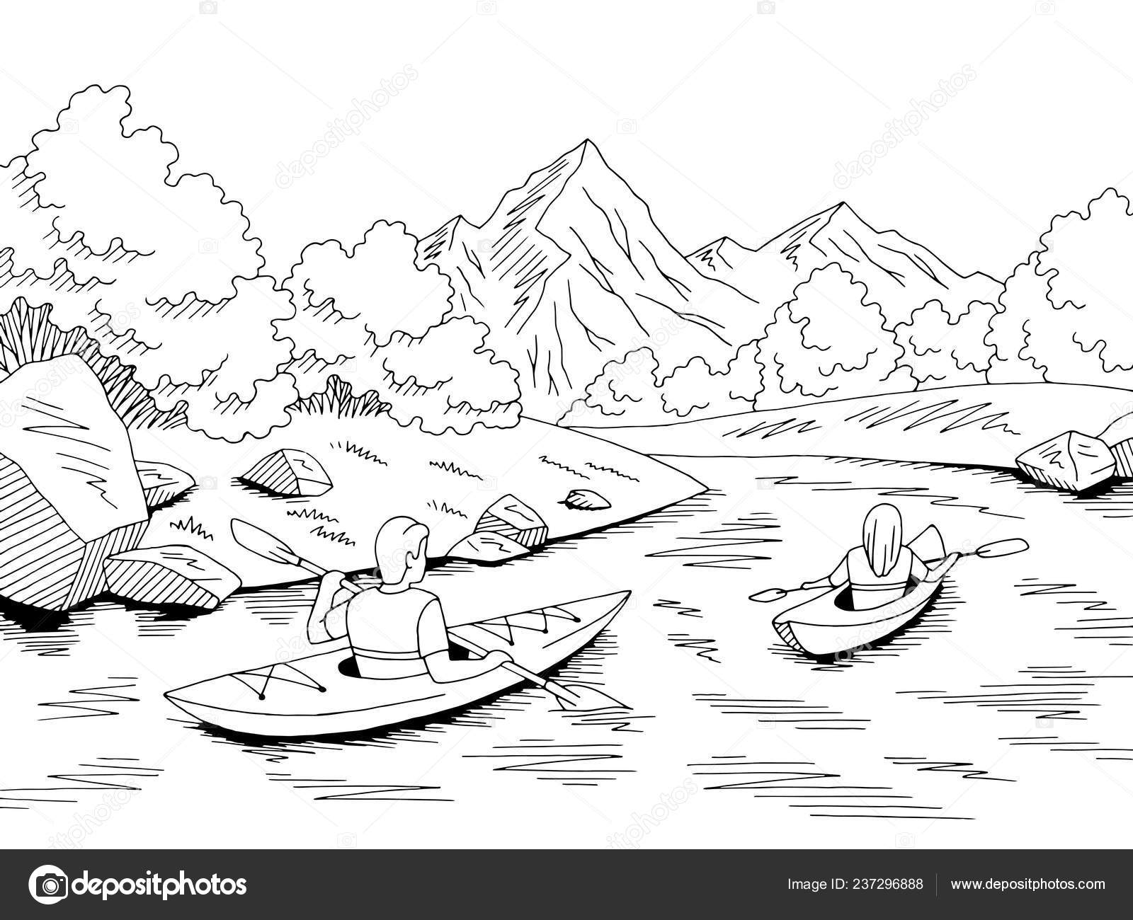 kayak boat travel graphic black white river landscape sketch illustration stock vector c aluna11 237296888 https depositphotos com 237296888 stock illustration kayak boat travel graphic black html