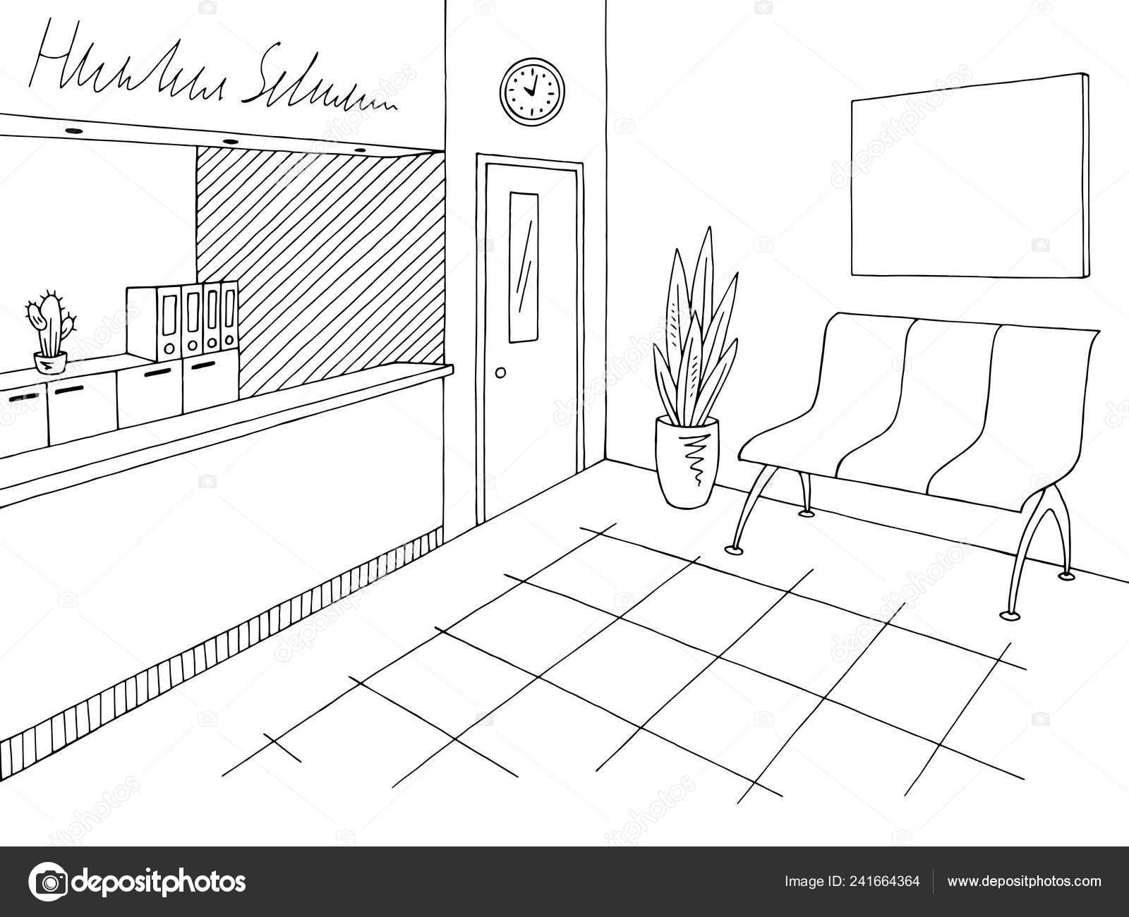 Vector Ilustración Hospital Recepción Vestíbulo Blanco Negro