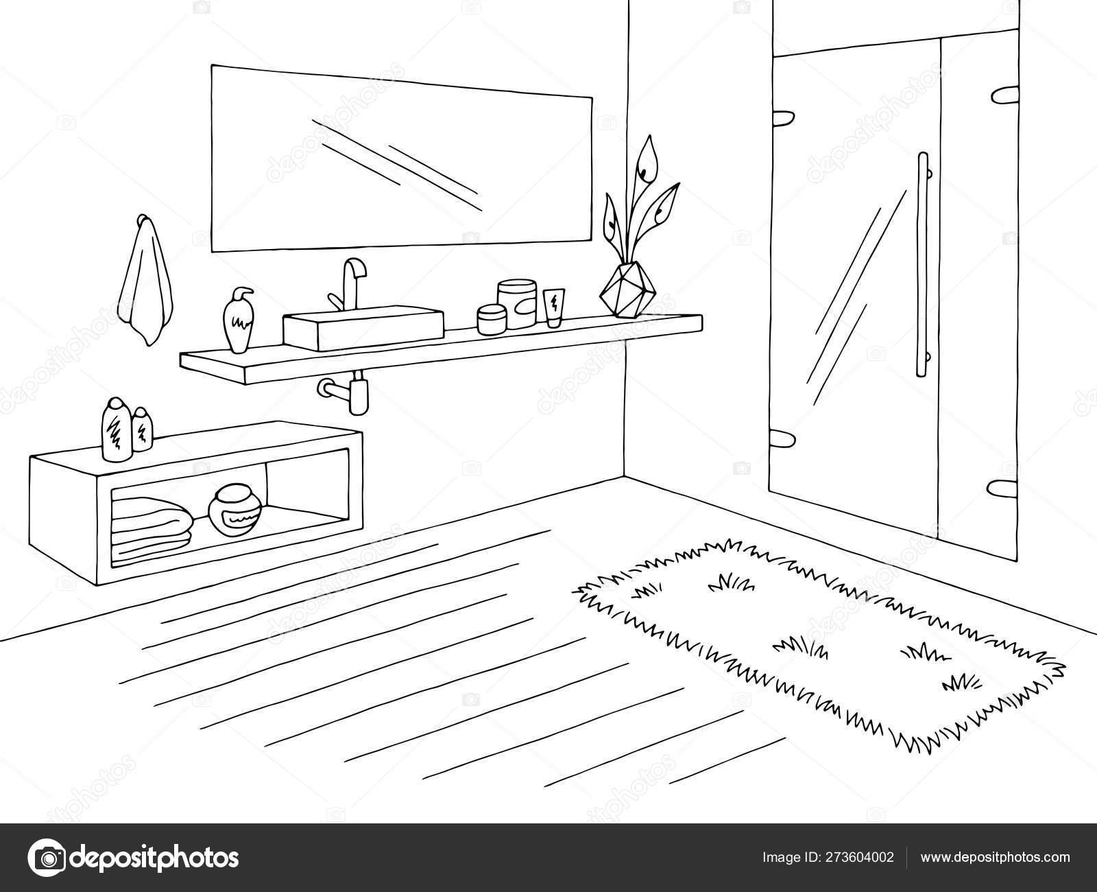 Badkamer Grafisch Huis Interieur Zwart Wit Schets Illustratie Vector Vectorafbeelding Door C Aluna11 Vectorstock 273604002