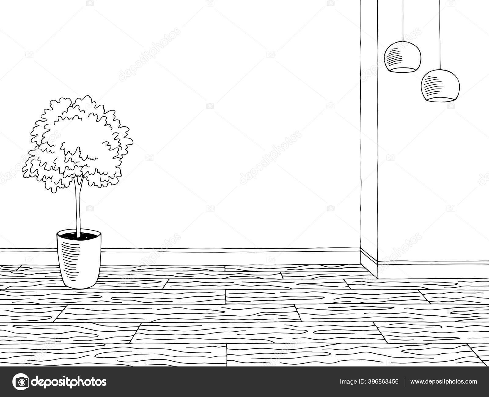 Ruang Grafis Hitam Putih Rumah Sketsa Interior Vektor Gambar Stok Vektor C Aluna11 396863456