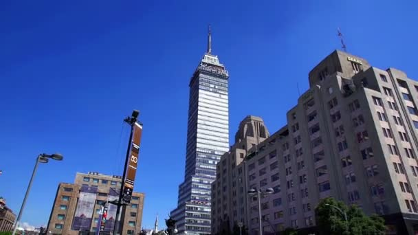 Mexico City, Mex. CIRCA OCTOBER 2018. Amazing view of Latinoamericana Tower and Fines Arts Palace in Mexico City. These two buildings are landmarks and an attractive tourist.