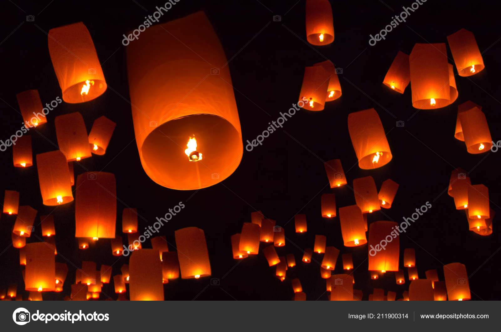 Floating Lanterns Night Sky Background Stock Photo C Pepscostudio 211900314