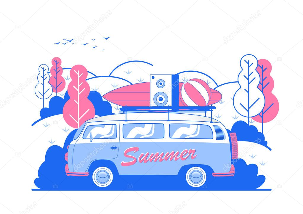 Vector Summer Beach Party Flyer Design with travel van and surf board. Eps10 illustration