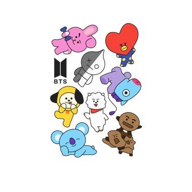 BTS - South Korean boy band. Print for t-shirts. Vector illustration