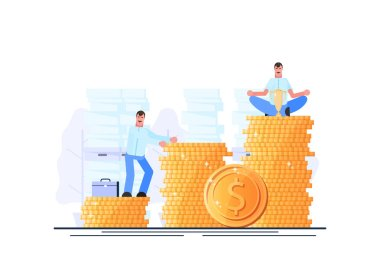 Wealth. Successful businessman. Financial independence. Effective management. Vector illustration. - Vector