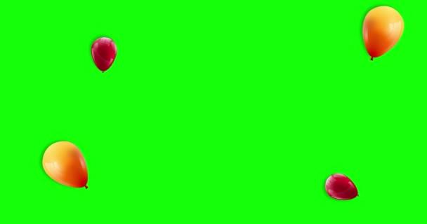 Prodejní prapor s červenými a žlutými plovoucími balónky