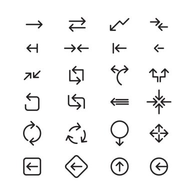Set of black vector arrows. COLLECTION OF SIGNS AND ICONS.