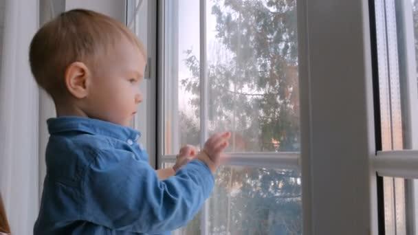 Pensive little boy looking through the window