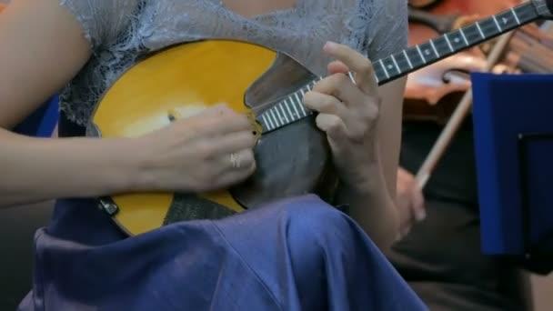 žena hraje mandolínu