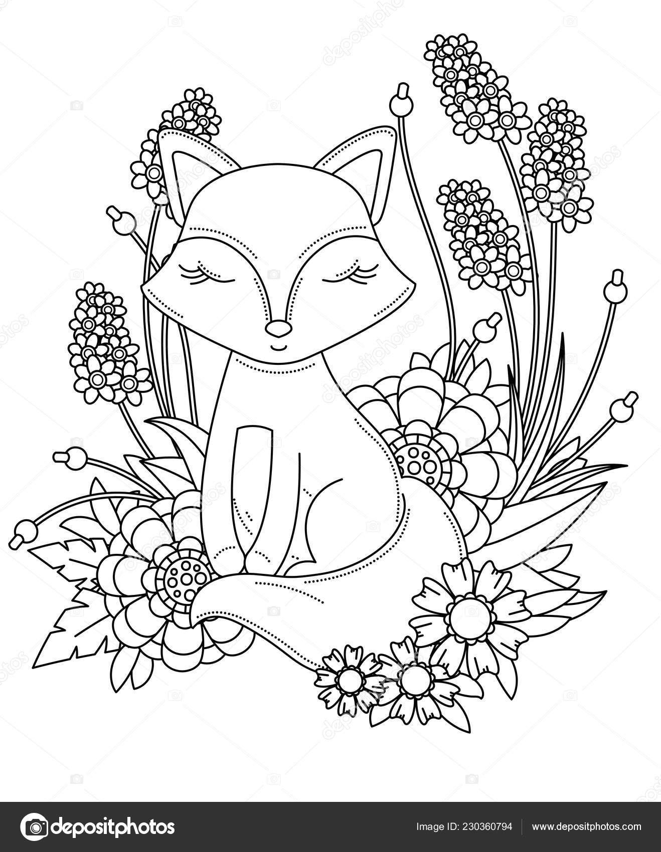 Kitap Sayfa Yetişkin çocuklar Için Boyama Sevimli Küçük çizgi Fox