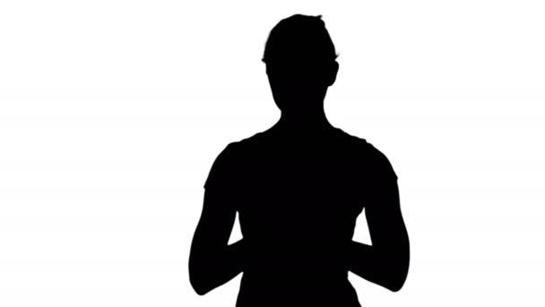 Frau mit namaste mudra Geste meditiert mit geschlossenen Augen Spur matt