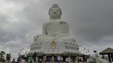 White big Buddha in cloudy day in Chalong, Phuket, Thailand