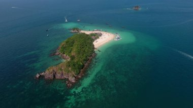 Aerial view of the small island in Indian ocean
