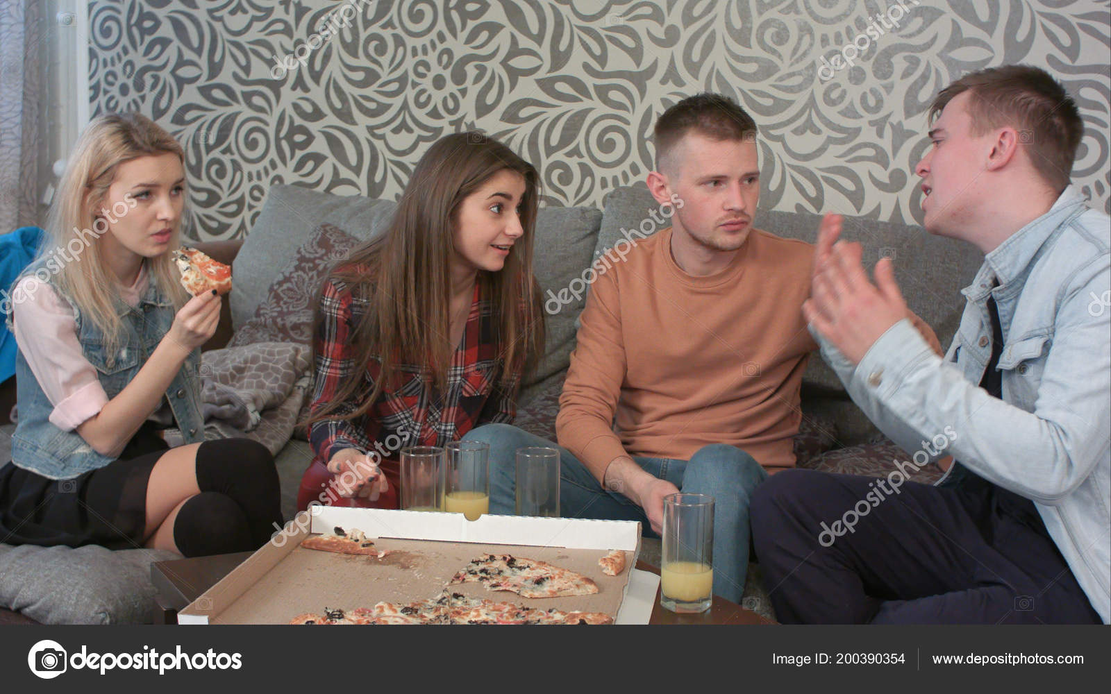 Teen friends having a serious disagreement at home. Professional shot in 4K  resolution. 069. You can use it e.g. in your commercial video, business, ...