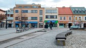 Liptovský Mikuláš. Slovensko město s řekou na zimní