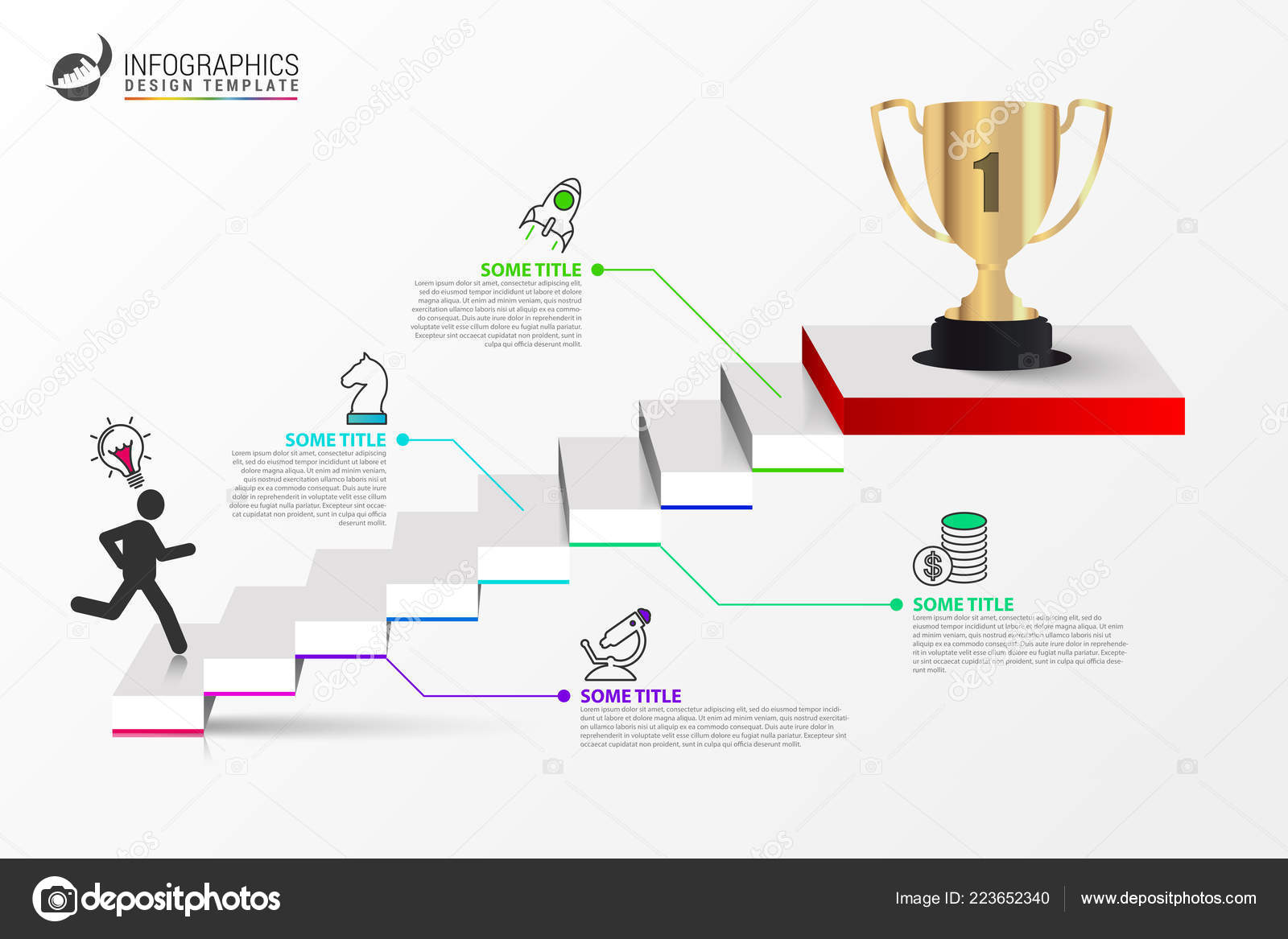infographic design template staircase concept steps can used