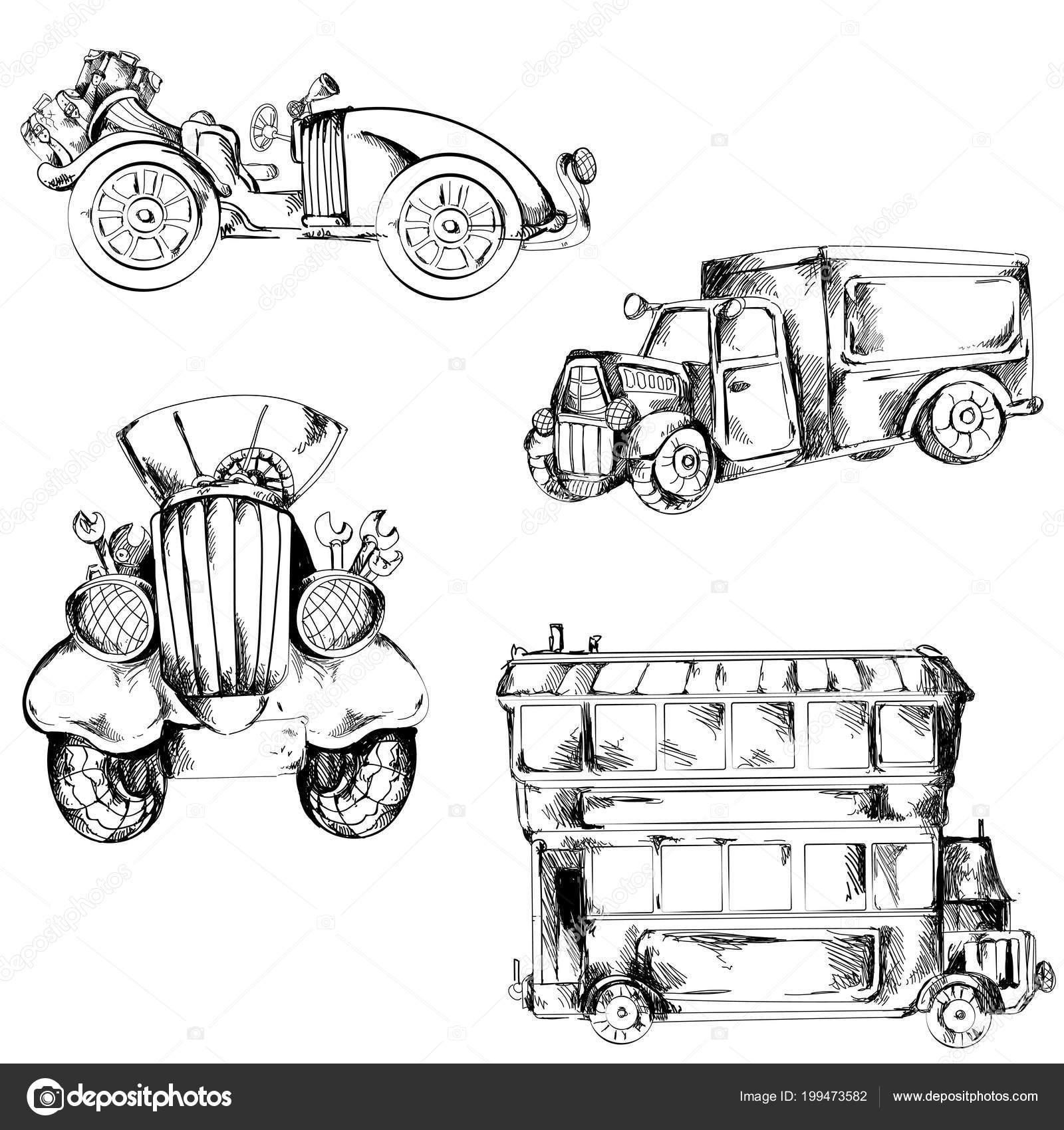 Kolekce Retro Aut Kreslene Vektor Stock Vektor C Mysi05 199473582