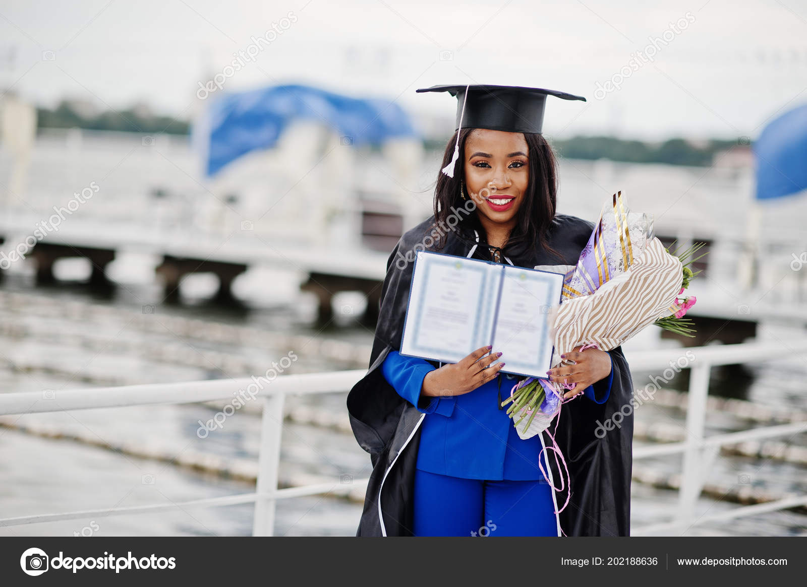 African American Student Girl Black Graduation Gown Diploma Blue ...