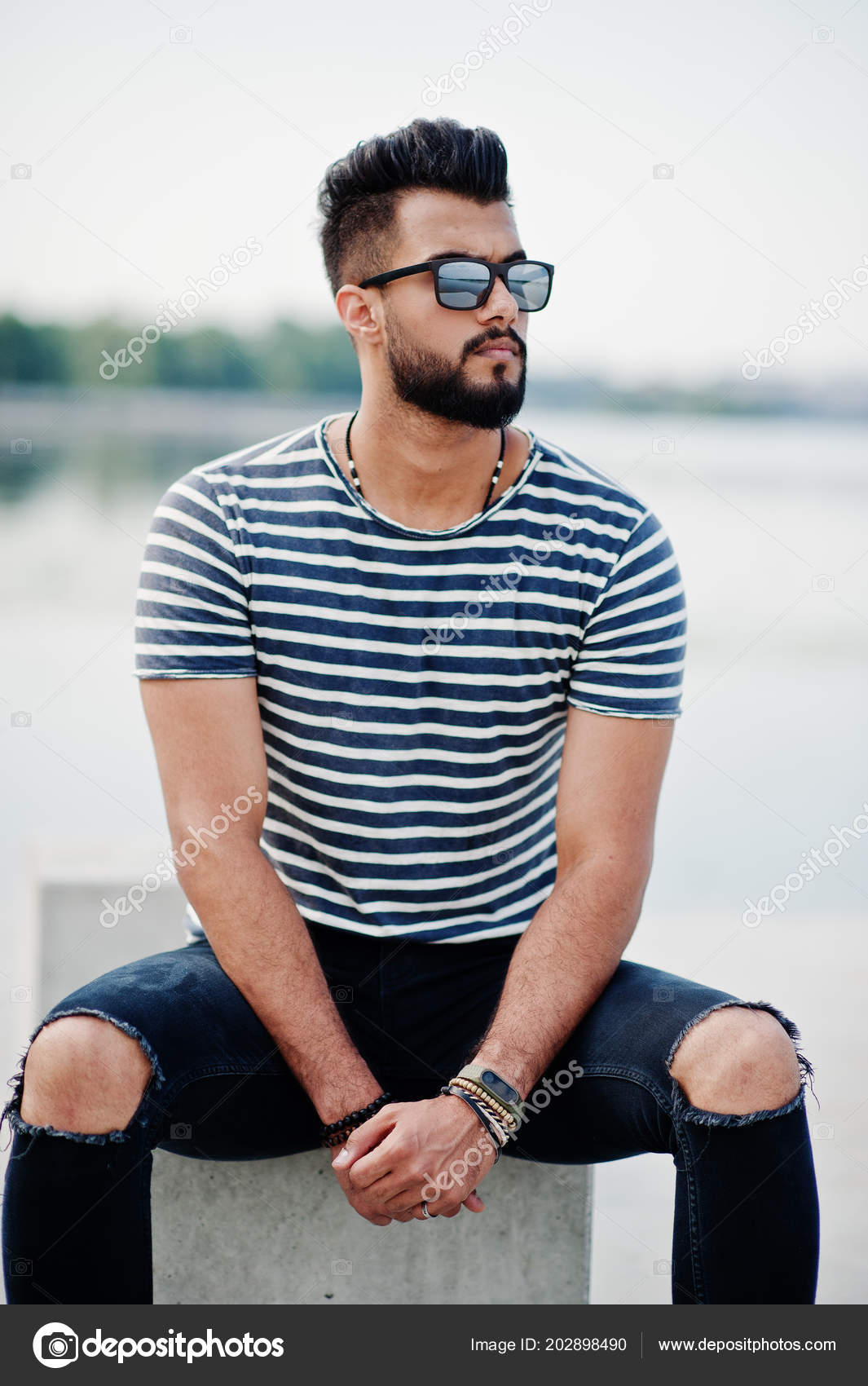 Amazing Handsome Tall Arabian Beard Man Model Stripped Shirt Posed Outdoor Schematic Wiring Diagrams Phreekkolirunnerswayorg