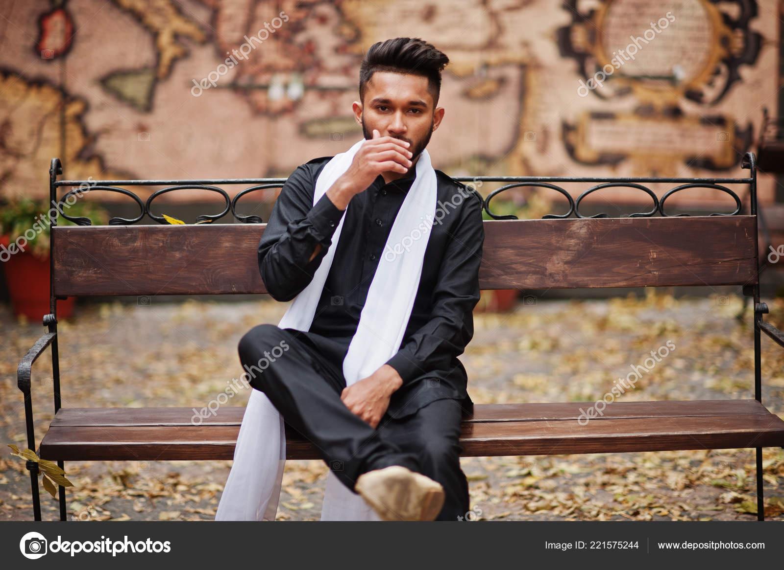 Phenomenal Indian Stylish Man Black Traditional Clothes White Scarf Evergreenethics Interior Chair Design Evergreenethicsorg