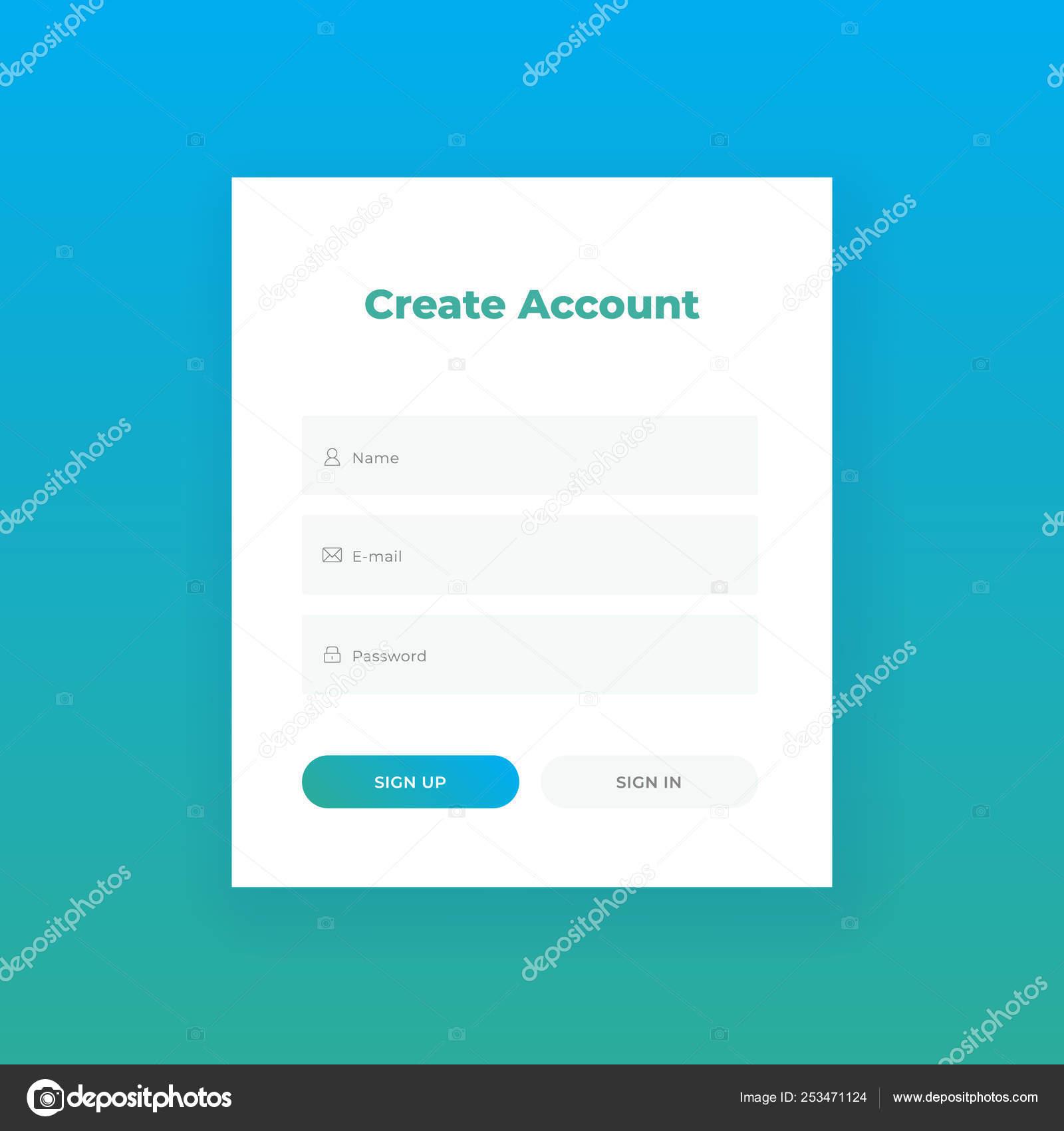 Create Account Login Form For Web Site Material Design Ui