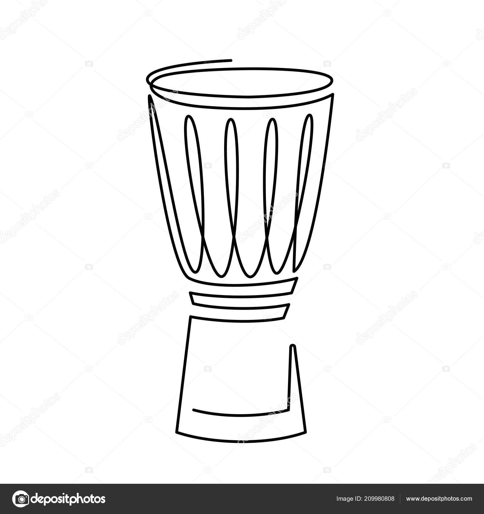 línea continua dibujo de icono de vector de tambor de la trampa