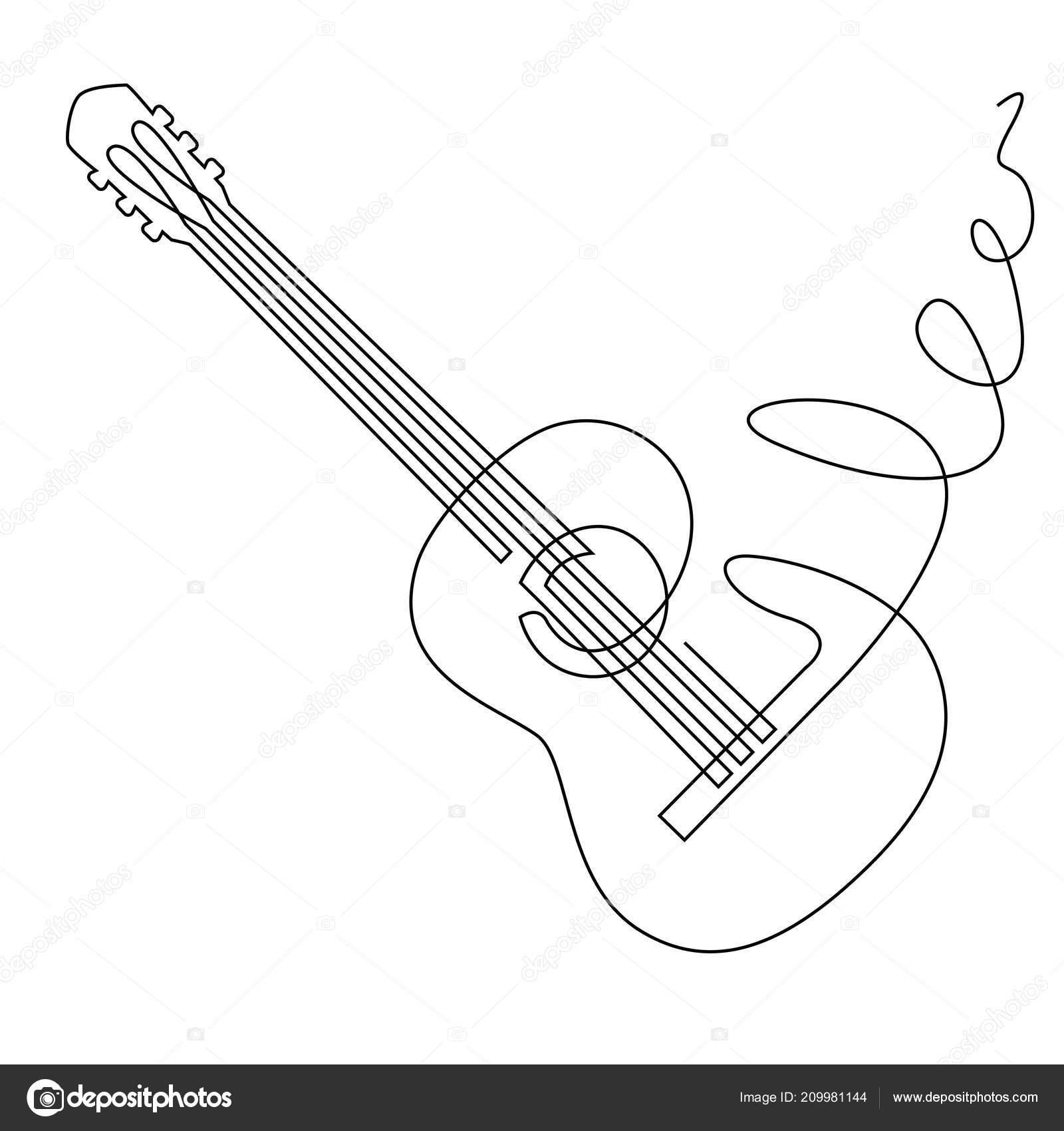 continua línea de dibujo del vector de la guitarra acústica