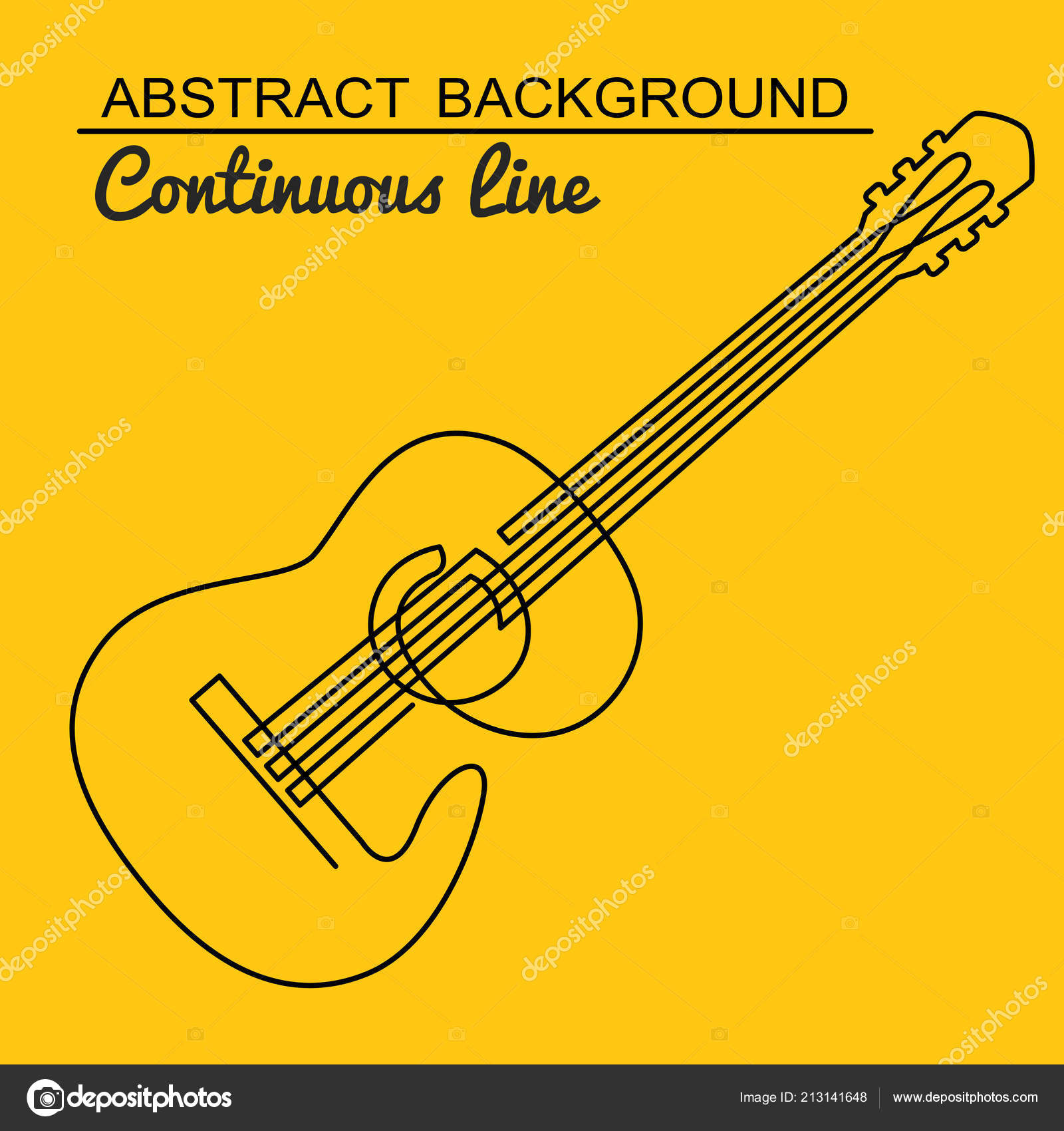 continua línea de dibujo del vector de la guitarra acústica. línea