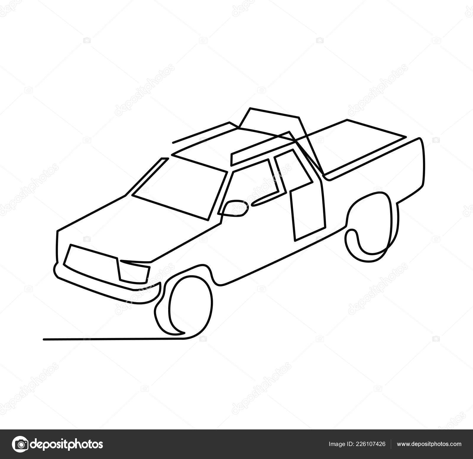 Continuous Line Drawing Of Pickup Truck Transport Vector