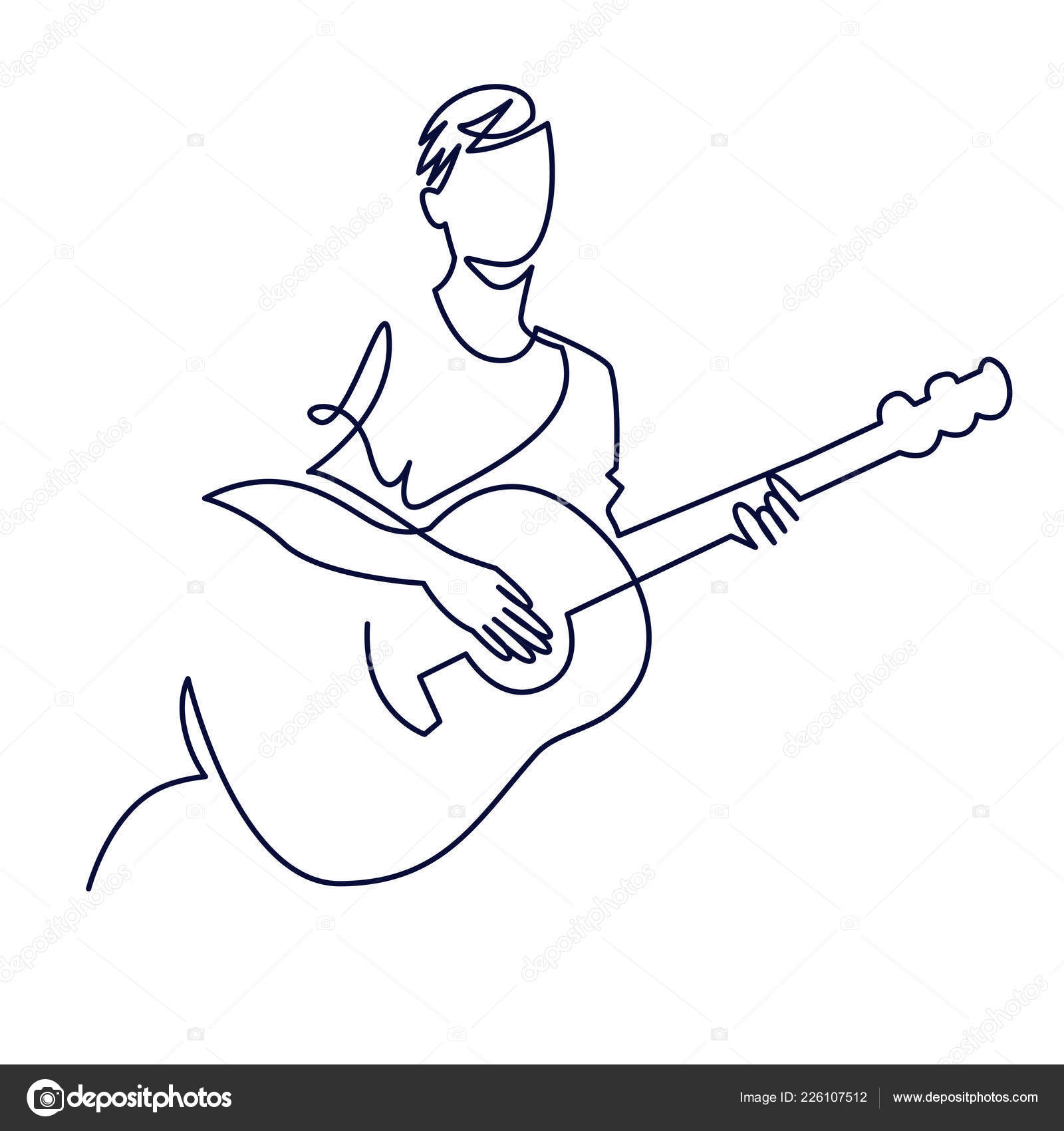 Continuous Line Drawing Of Musician Plays Acoustic Guitar Vector