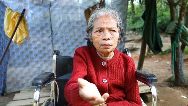 hue, vietnam-dezember 25.12.2016: eine erwachsene vietnamesische Frau, die im Rollstuhl sitzt, bittet Touristen, die an einem lokalen Wahrzeichen vorbeigehen, um Almosen. Armut und soziale Probleme