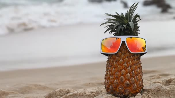 Cheerful pineapple on vacation
