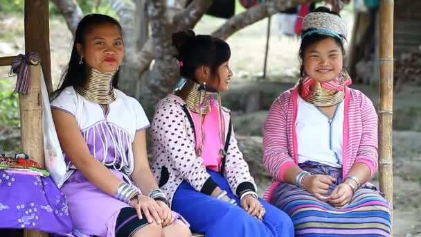 Chiang Mai,Thailand-February 13 ,2017:Three young girls from the hill tribe The long-neck karen called themselves as Kayan living in Eco-Agricultural Hill Tribes Village - Baan Tong Luang