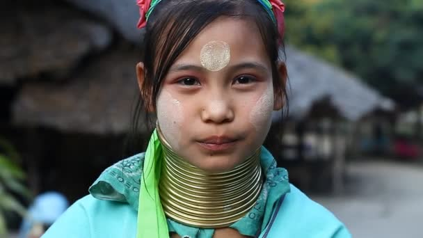 Chiang Mai,Thailand-February 13 ,2017:Video portrait of a young girl from the hill tribe The long-neck karen called themselves as Kayan living in Eco-Agricultural Hill Tribes Village - Baan Tong Luang