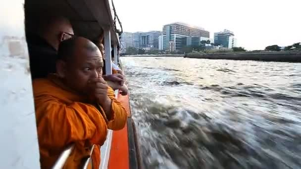 Bangkok, Thailand-January 30, 2017:Boat trip on Chao Phraya River in Bangkok.Water transport is very popular among local residents and monks because of the overloaded traffic on the city roads