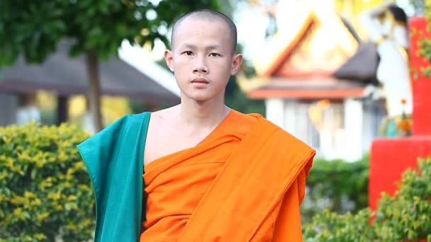 LUANG PRABANG, LAOS - DECEMBER 9, 2016:Video portrait of a young Buddhist monk. Monks are educated in Buddhist schools at the citys temples