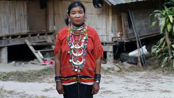 Chiang Mai,Thailand-February 13 ,2017:Video portrait of an adult woman with tunnels in the ears from the hill tribe Kayaw living in Eco-Agricultural Hill Tribes Village - Baan Tong Luang.